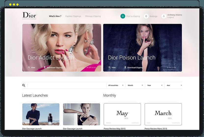 UX and UI design de l'application web Dior Clippings