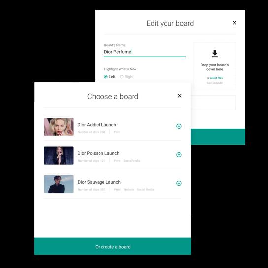 Composants de l'interface web Dior Clipping