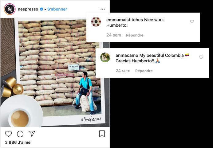 Publication instagram lifestyle engageante sur le compte de Nespresso